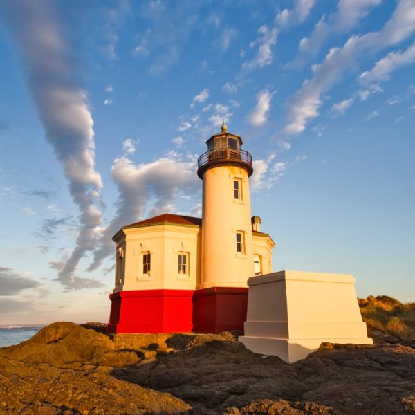 lighthouse during early morning sunlight