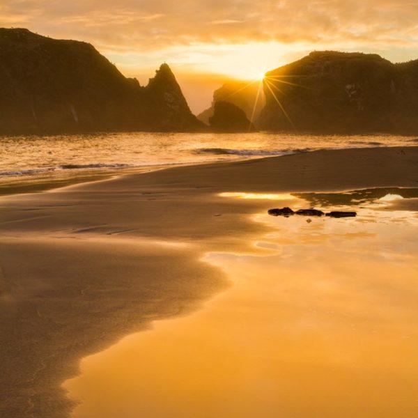 golden light on beach