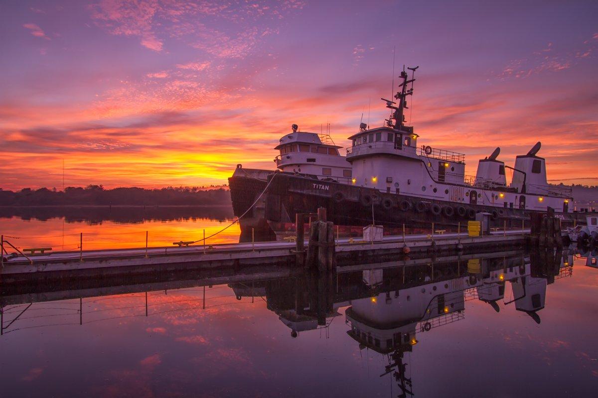 Ship during sunrise, Coos Bay, Oregon.