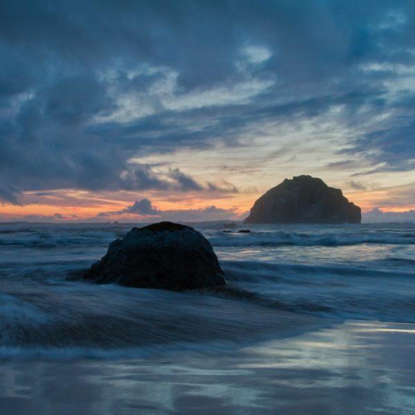 beach, tide and sea stacks