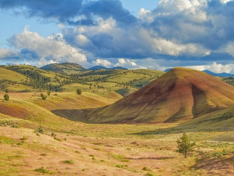 rolling hills of color and clouds