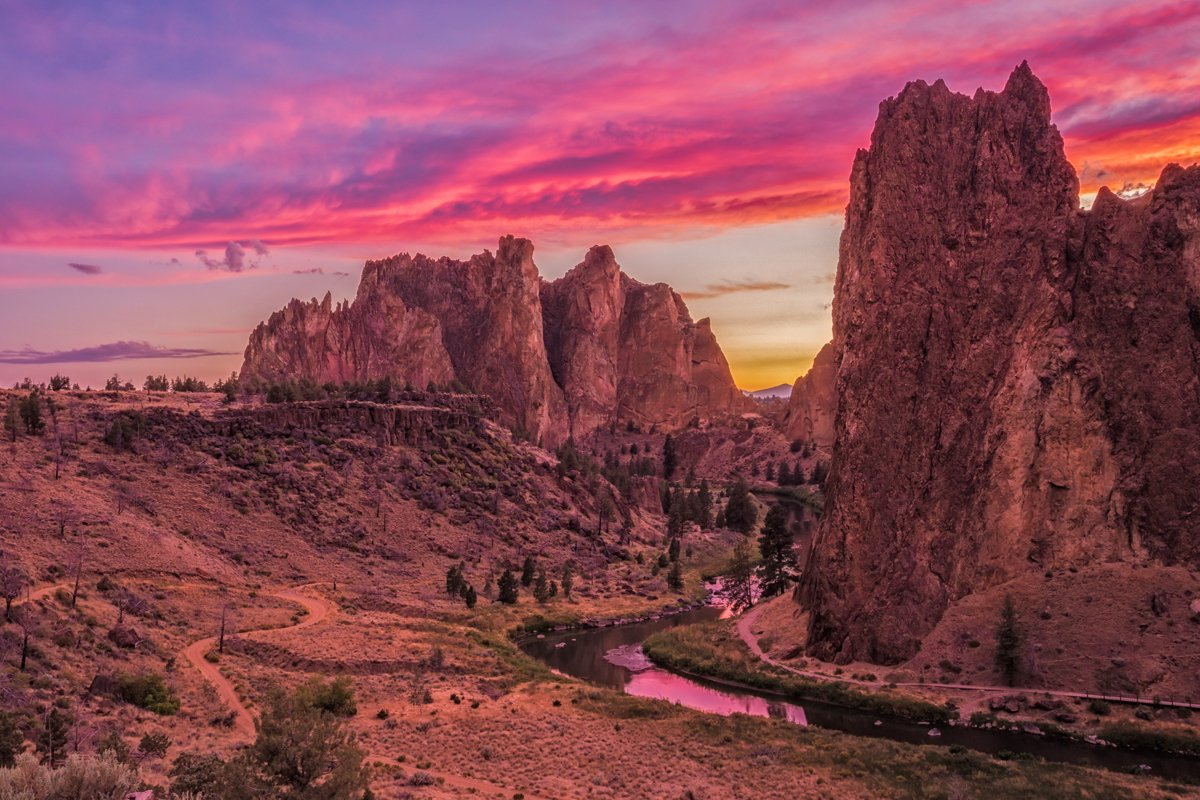 smith rock at sunset