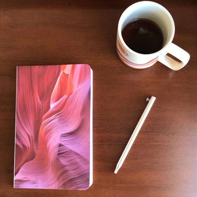 journal displayed on table