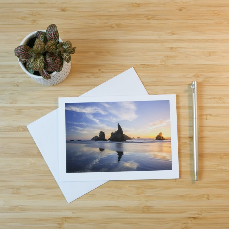 Bandon beach print on card