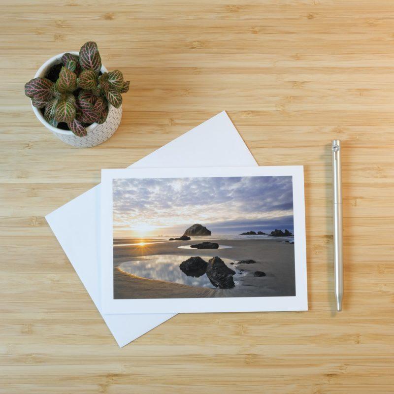 beach print on card