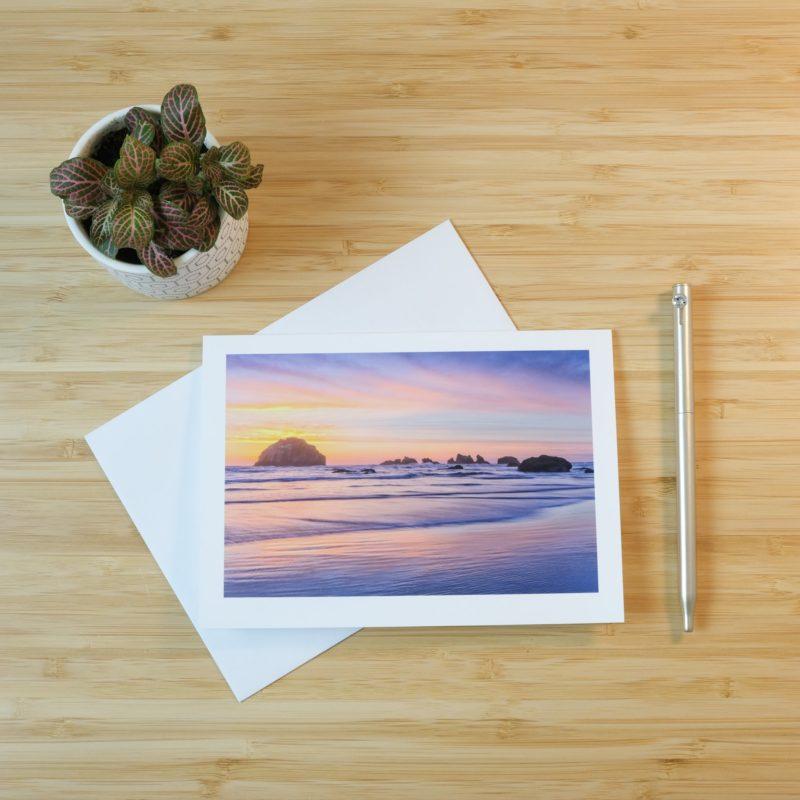 Bandon beach sunset print on card